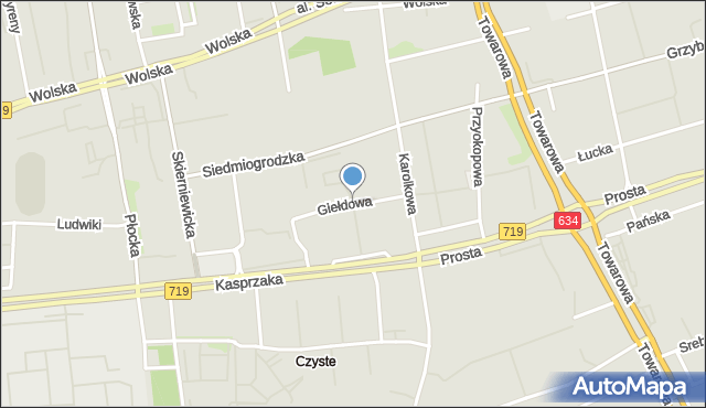 Warszawa, Giełdowa, mapa Warszawy