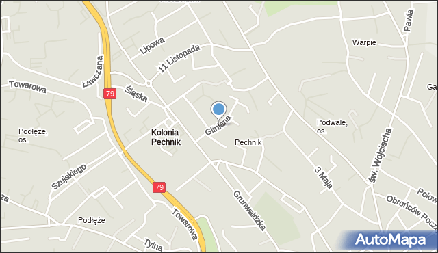 Jaworzno, Gliniana, mapa Jaworzno
