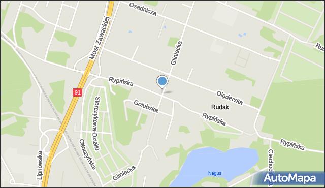 Toruń, Gliniecka, mapa Torunia
