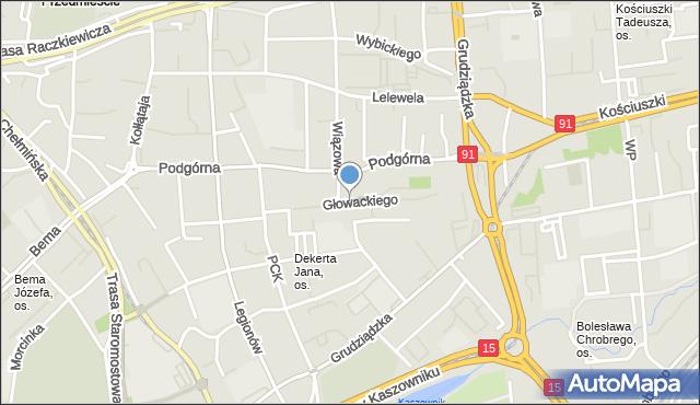 Toruń, Głowackiego Bartosza, mapa Torunia