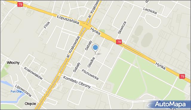 Warszawa, Gładka, mapa Warszawy