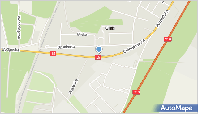 Toruń, Gniewkowska, mapa Torunia