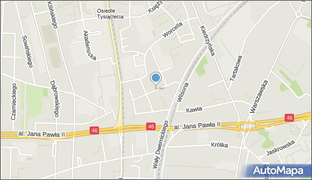 Częstochowa, Godebskiego Cypriana, mapa Częstochowy