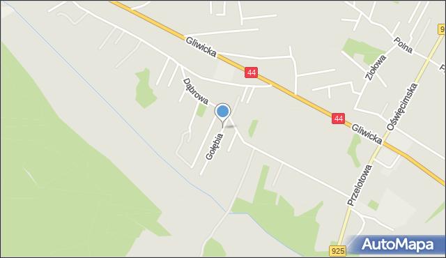 Mikołów, Gołębia, mapa Mikołów
