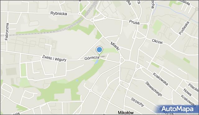 Mikołów, Górnicza, mapa Mikołów