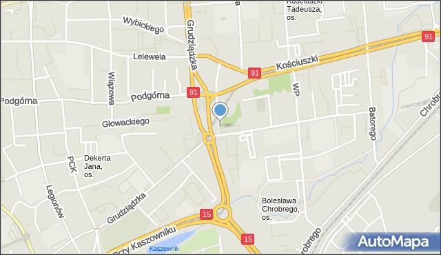 Toruń, Gogi Pawła Piotra, ks. kan., mapa Torunia