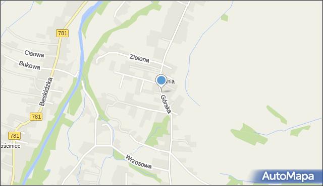 Wieprz powiat wadowicki, Górska, mapa Wieprz powiat wadowicki
