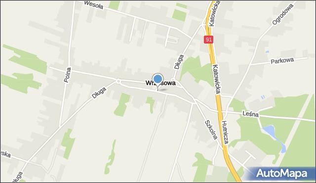 Wrzosowa, Górna, mapa Wrzosowa
