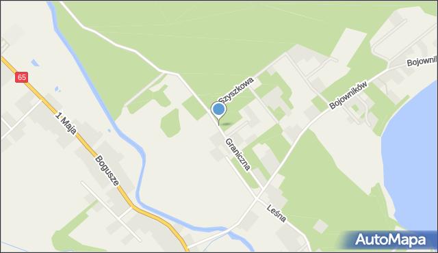 Bogusze gmina Prostki, Graniczna, mapa Bogusze gmina Prostki