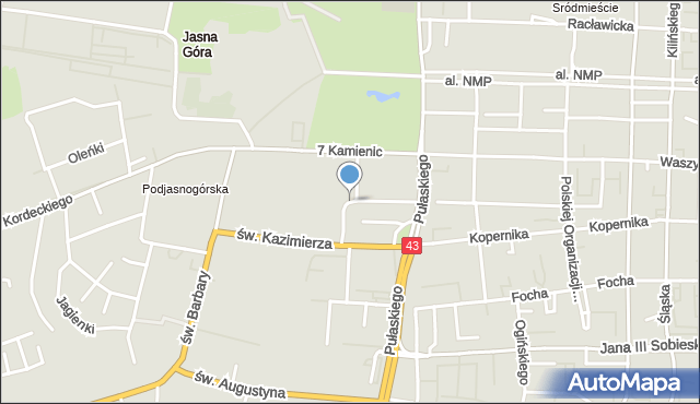 Częstochowa, Grunwaldzka, mapa Częstochowy