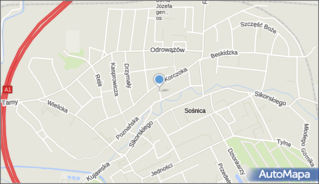 Gliwice, Gromadzka, mapa Gliwic