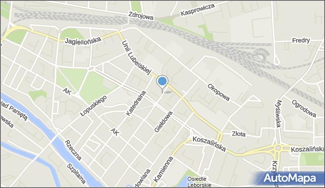 Kołobrzeg, Graniczna, mapa Kołobrzegu