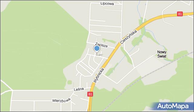 Łaziska Górne, Grabowa, mapa Łaziska Górne