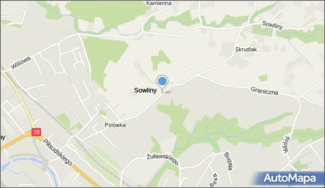 Limanowa, Graniczna, mapa Limanowa