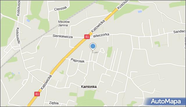 Mikołów, Grabowa, mapa Mikołów