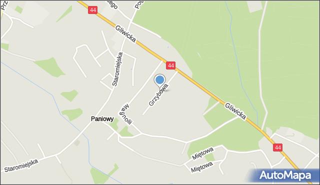 Mikołów, Grzybowa, mapa Mikołów