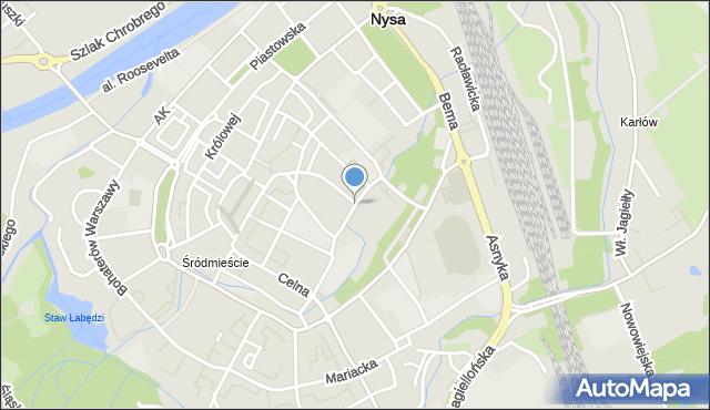 Nysa, Grodzka, mapa Nysy
