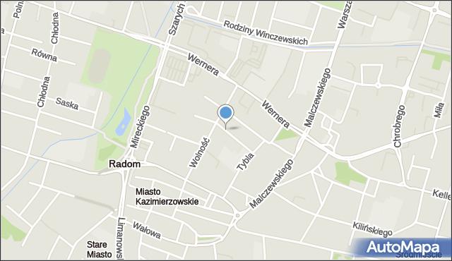 Radom, Grochowa, mapa Radomia