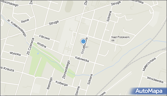 Radom, Grzybowska, mapa Radomia