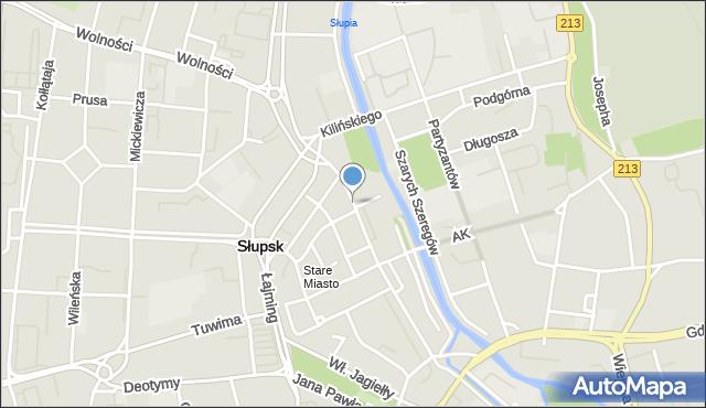 Słupsk, Grodzka, mapa Słupska