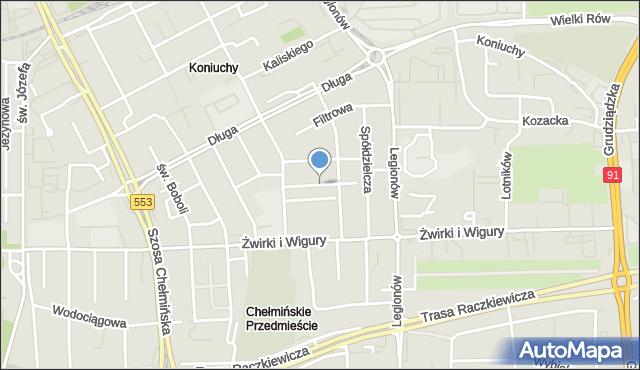 Toruń, Grabowskiego Antoniego, mapa Torunia