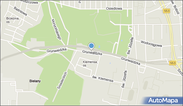 Toruń, Grunwaldzka, mapa Torunia