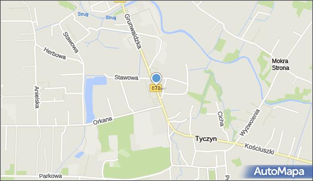 Tyczyn powiat rzeszowski, Grunwaldzka, mapa Tyczyn powiat rzeszowski