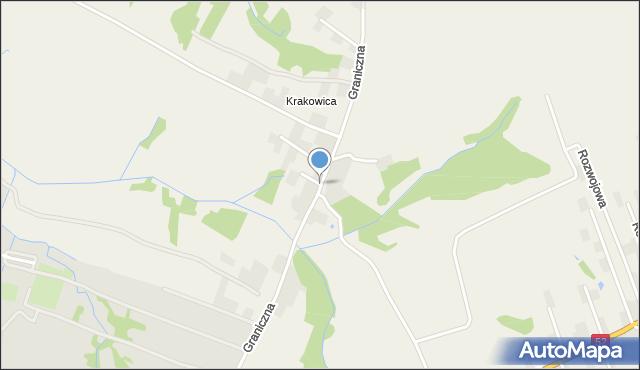 Wieprz powiat wadowicki, Graniczna, mapa Wieprz powiat wadowicki