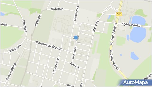 Bytom, Gwarecka, mapa Bytomia