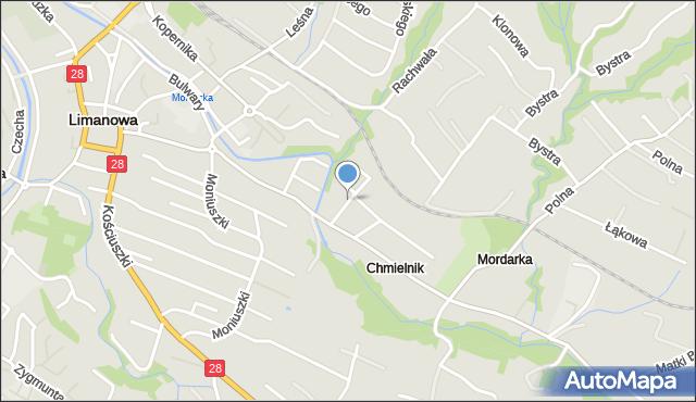 Limanowa, Harcerska, mapa Limanowa