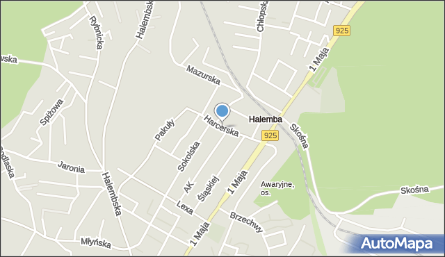 Ruda Śląska, Harcerska, mapa Rudy Śląskiej