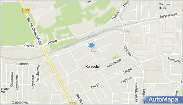 Toruń, Harcerska, mapa Torunia