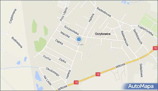 Zabrze, Hallera Józefa, gen., mapa Zabrza