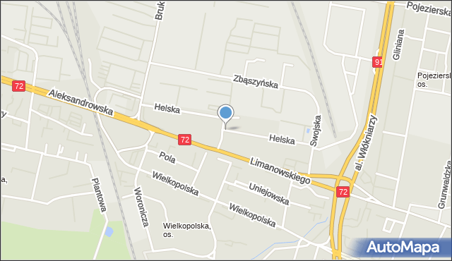 Łódź, Helska, mapa Łodzi