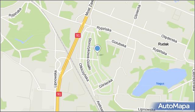 Toruń, Hiacyntowa-Działki, mapa Torunia