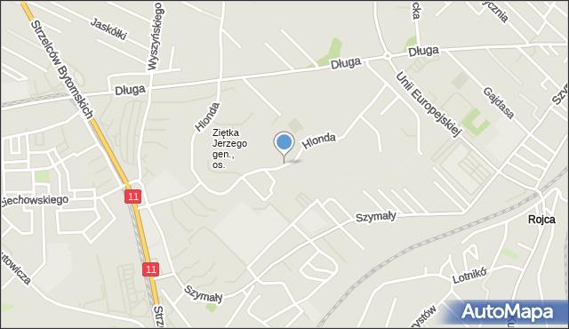 Bytom, Hlonda Augusta, ks. kard. Prymasa, mapa Bytomia