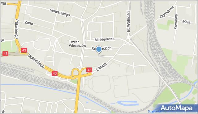 Częstochowa, Hoene-Wrońskiego, mapa Częstochowy