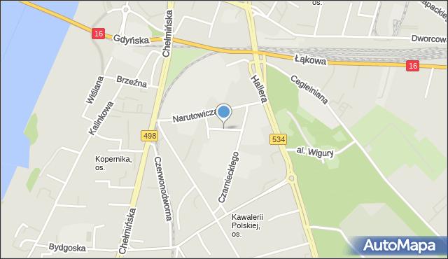 Grudziądz, Hoffmanna Alfonsa, mapa Grudziądza