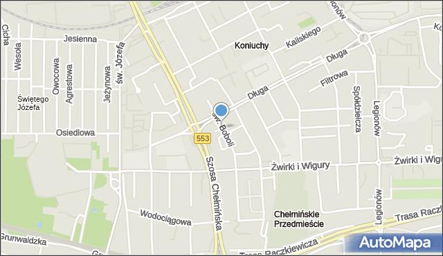 Toruń, Hoża, mapa Torunia