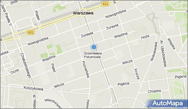 Warszawa, Hoża, mapa Warszawy