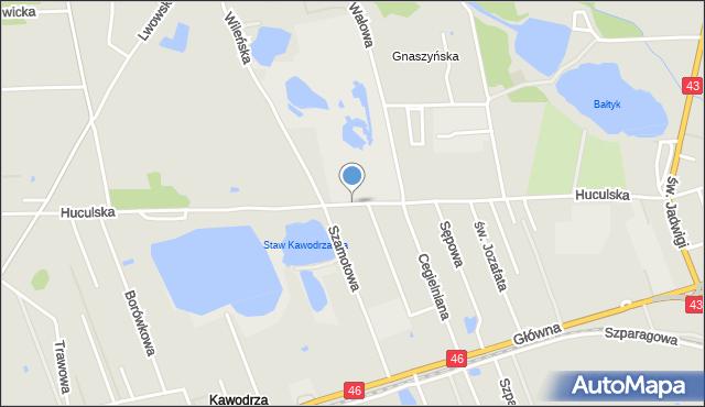 Częstochowa, Huculska, mapa Częstochowy