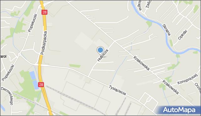 Krosno, Hutnicza, mapa Krosna