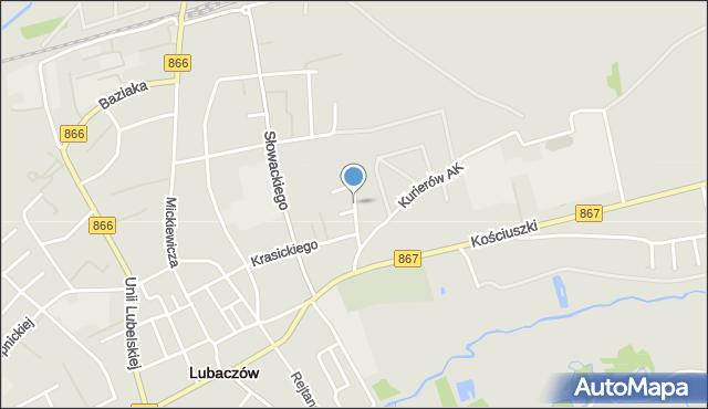 Lubaczów, Hubala Henryka, mjr., mapa Lubaczów