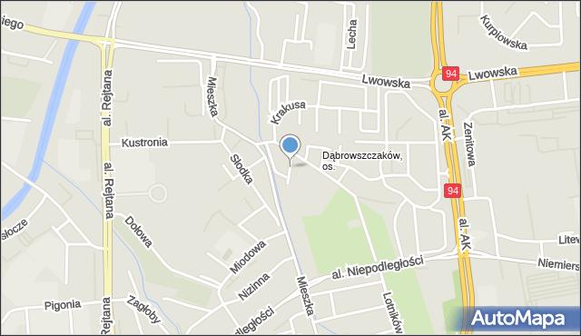 Rzeszów, Hutników, mapa Rzeszów