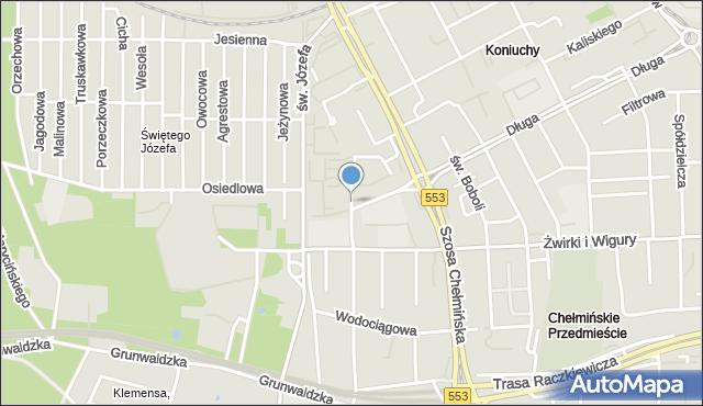 Toruń, Hurynowicz Janiny, mapa Torunia