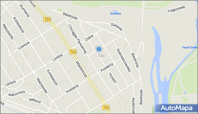 Warszawa, Husarii, mapa Warszawy