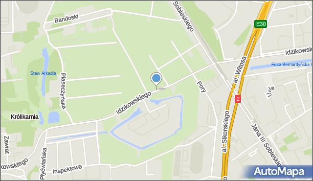 Warszawa, Idzikowskiego Ludwika, mjr., mapa Warszawy
