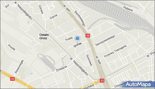 Częstochowa, Iglasta, mapa Częstochowy