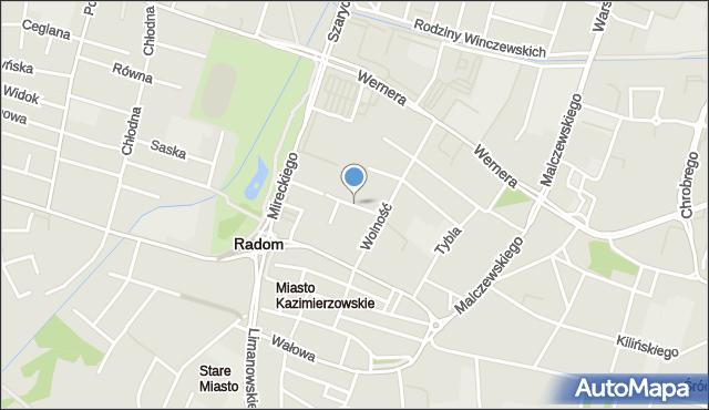 Radom, Inżynierska, mapa Radomia