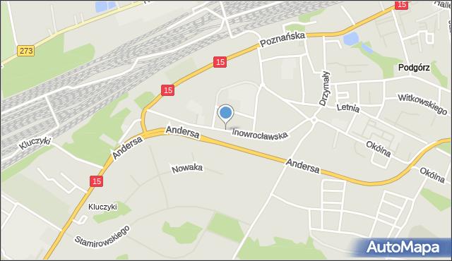 Toruń, Inowrocławska, mapa Torunia